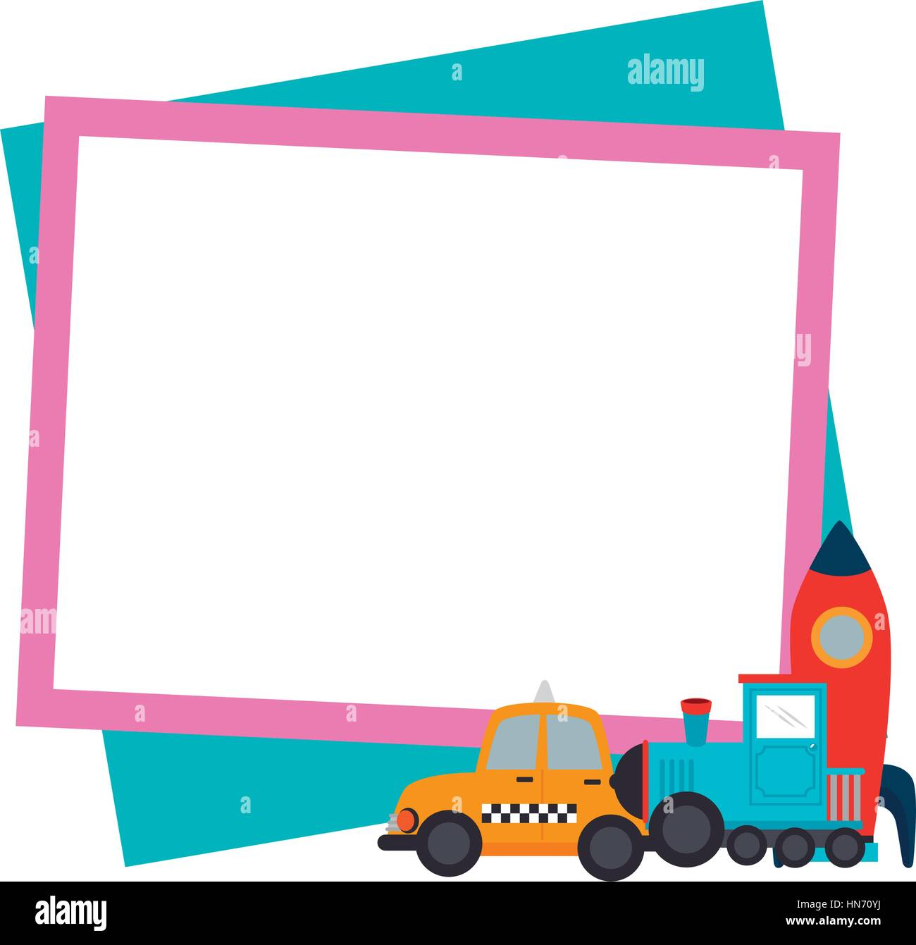 Color Frame With Border With Baby Toys Vector Illustration Stock