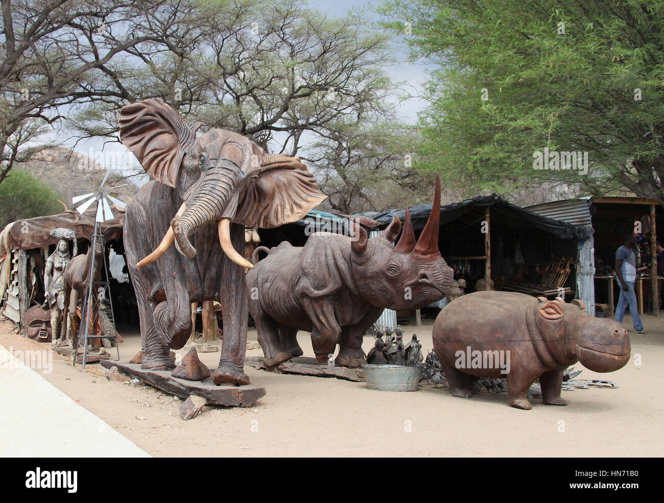 Wood carving centre and craft market at okahandja in