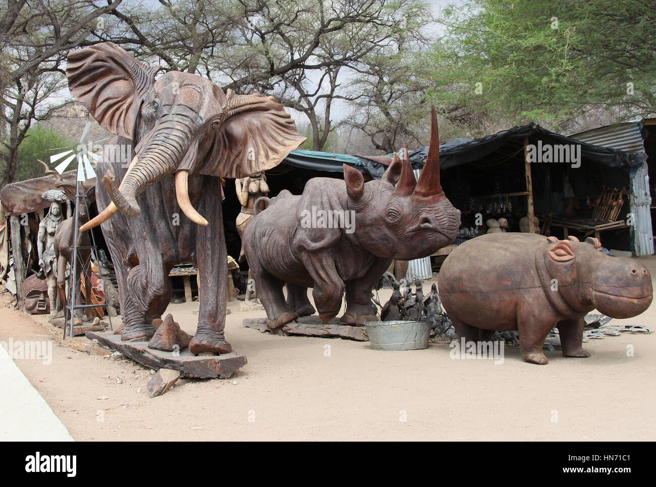 Wood carving centre and craft market at Okahandja in Namibia - Stock Image