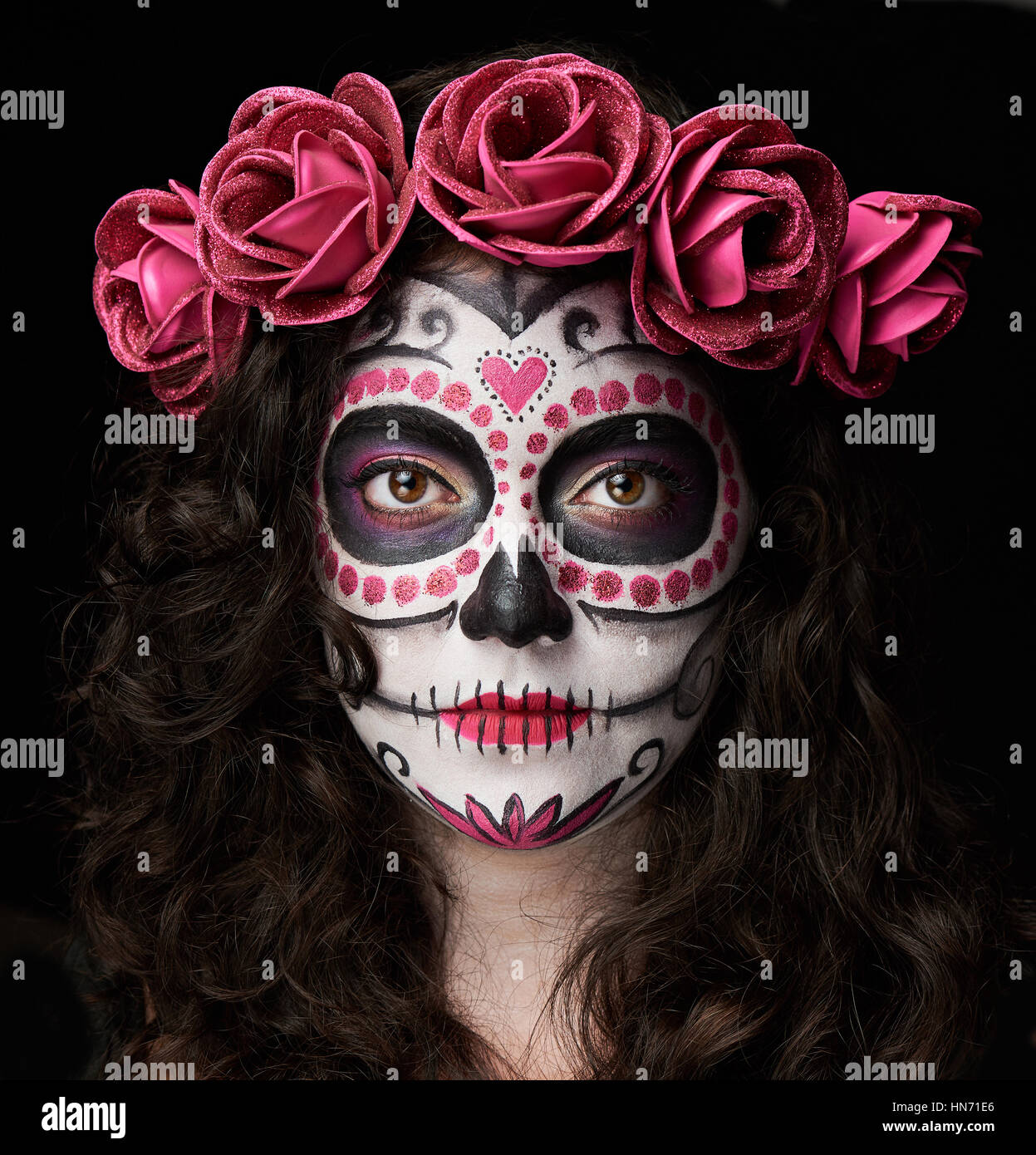 bons plans 2017 dans quelques jours dessins attrayants catrina skull portrait isolated on black background Stock ...