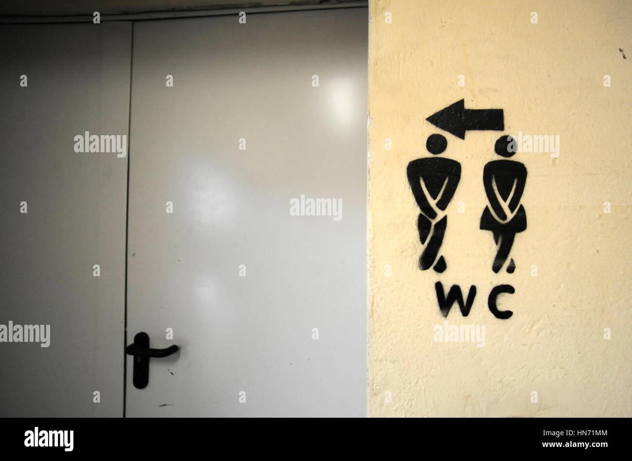 Berlin toilet sign - Stock Image
