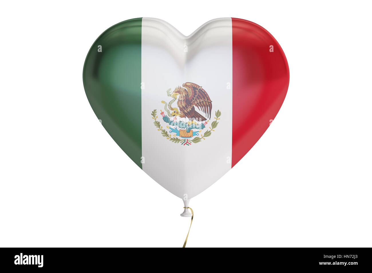 balloon with Mexico flag in the shape of heart, 3D rendering isolated on white background - Stock Image