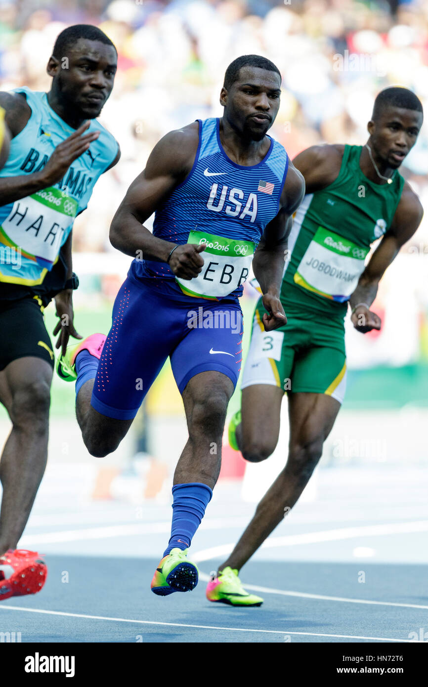 Rio de Janeiro, Brazil. 16 August 2016.  Athletics, Ameer Webb (USA)  competing in the men's 200m heats at the - Stock Image