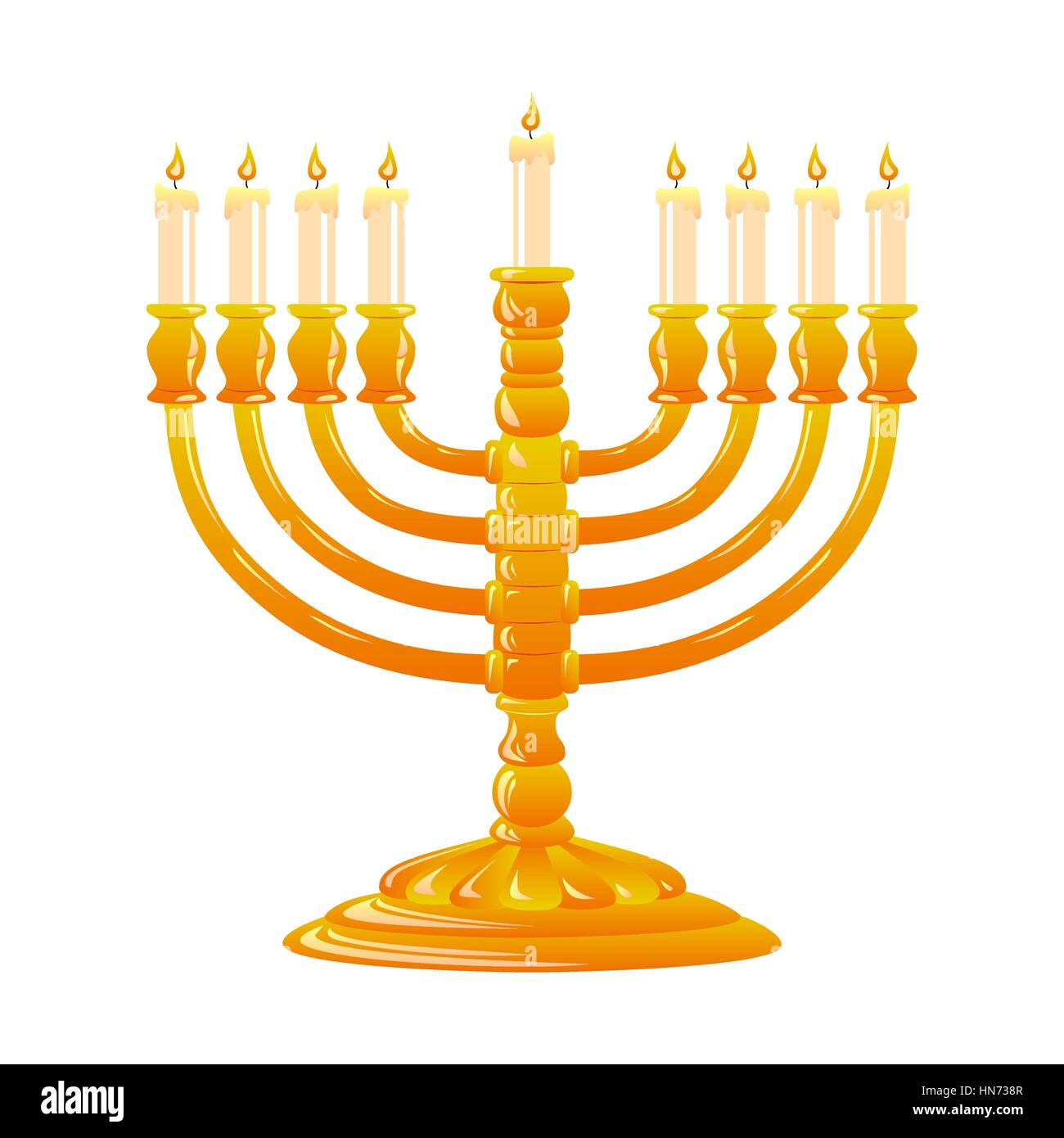 For Happy Hanukkah, jewish holiday. Golden menorah with burning candles on white background. Vector illustration. - Stock Vector
