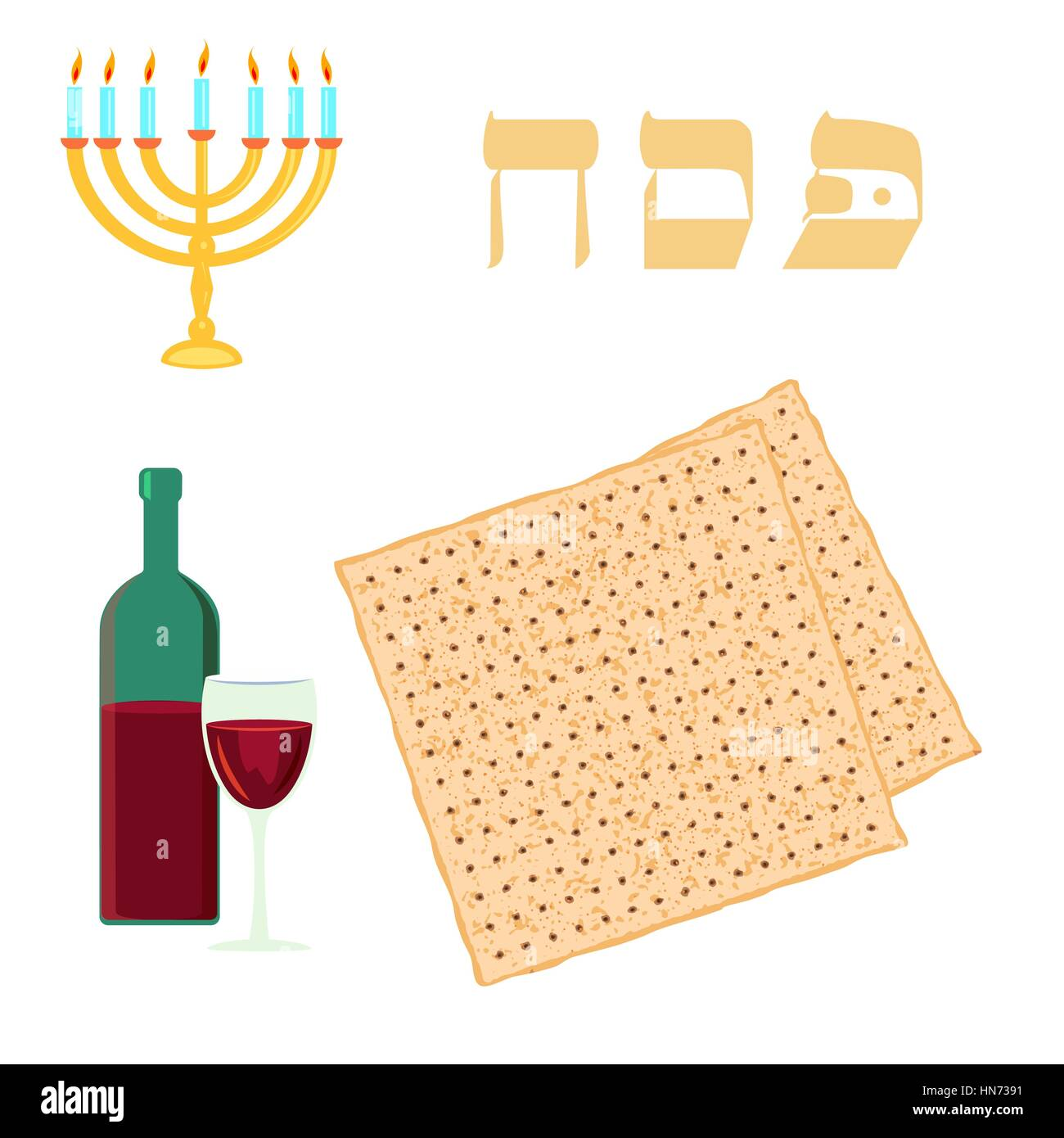 Passover traditional matzoh, menorah and wine. Vector illustration on white background - Stock Image