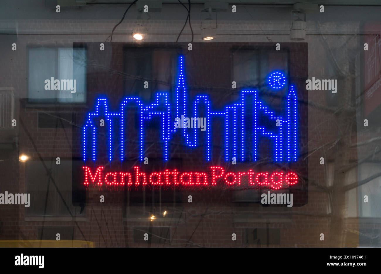 Manhattan Portage neon sign Stock Photo