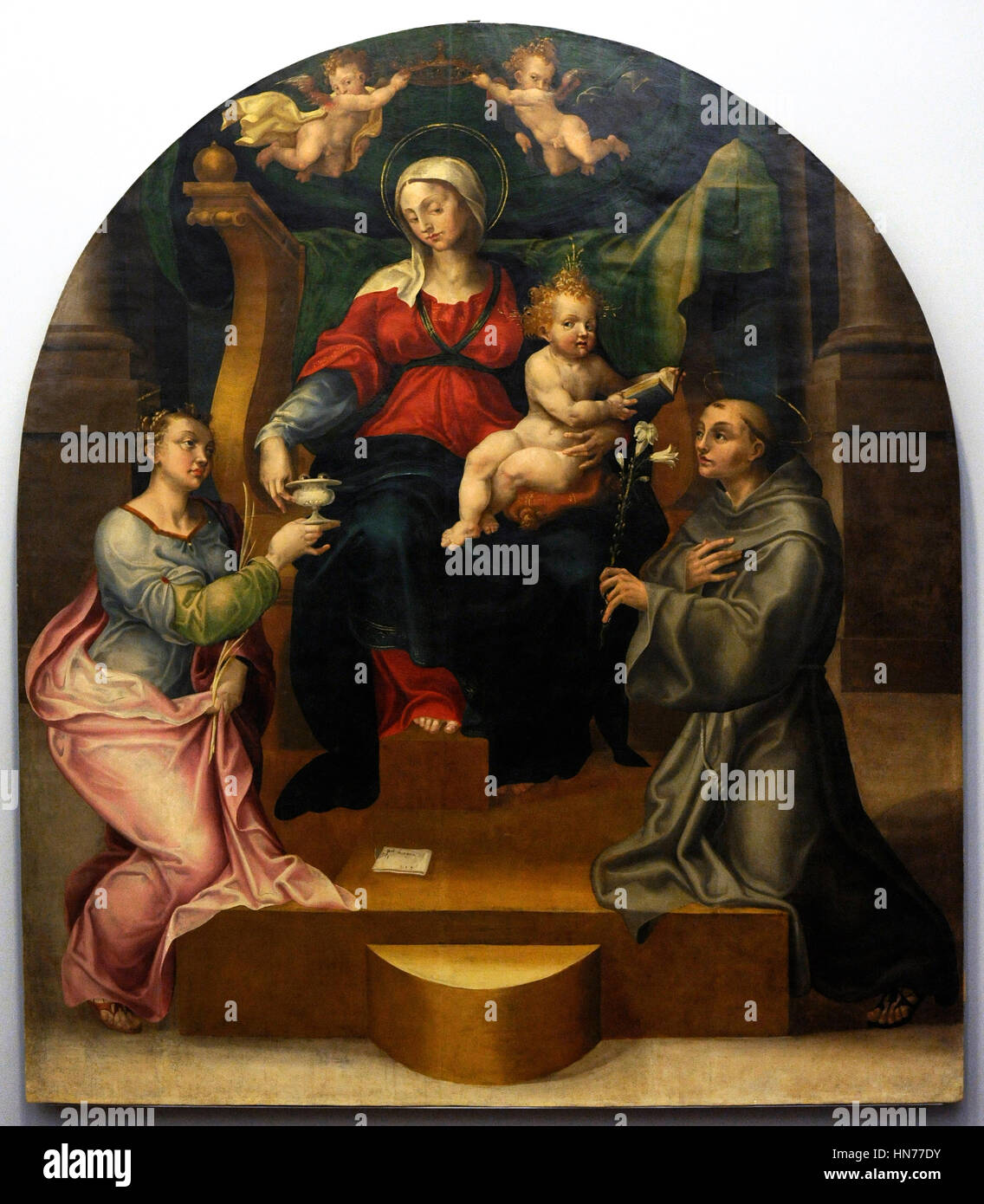 Pietro Negroni (1503-1565). Italian painter. The Virgin and Child with St. Lucy and  Anthony of Padua, 1544 Renaissance - Stock Image