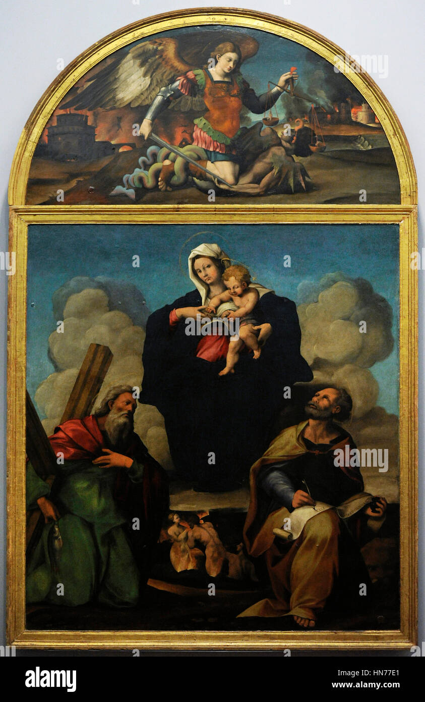 Marco Cardisco (1486-1542). Italian painer. Virgin with Mark the Evangeliest and Andrew the Apostle, 1527-30. Oil on wood. Museum of Capodimonte. Naples. Italy. Stock Photo