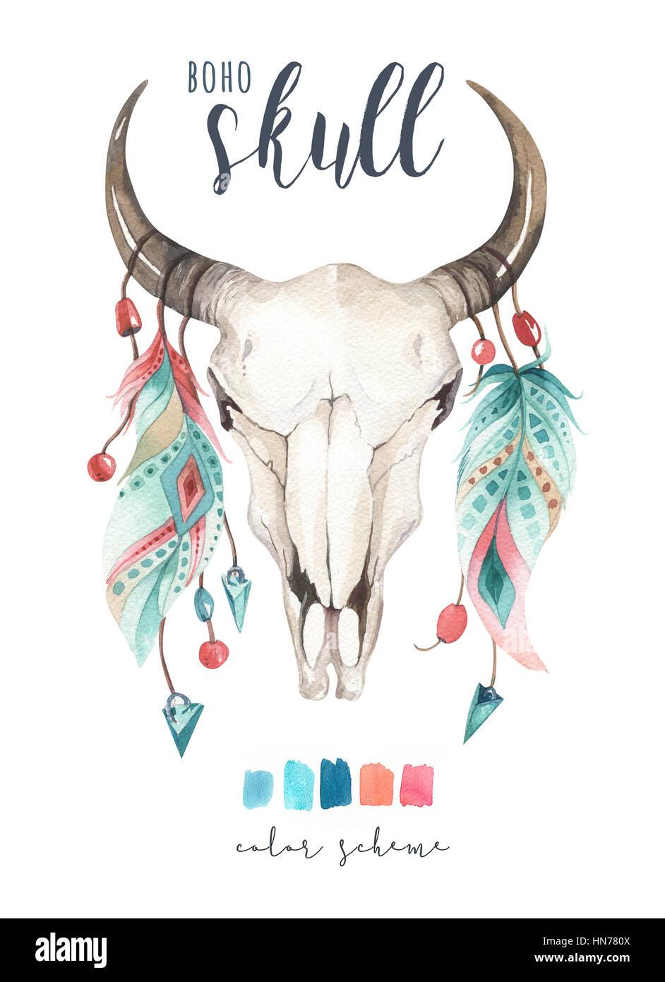 watercolor bohemian cow skull western mammals deer skull logo design Deer Skull Logo Decal
