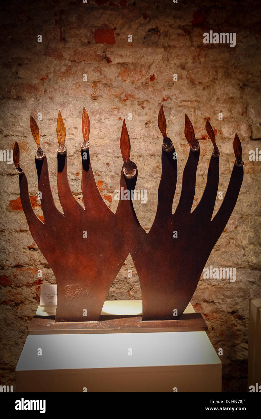Italy Piedmont Casale Monferrato: Jewish Synagogue Jewish Museum  Museum of Enlightenment chanukkah lamp:Roland - Stock Image