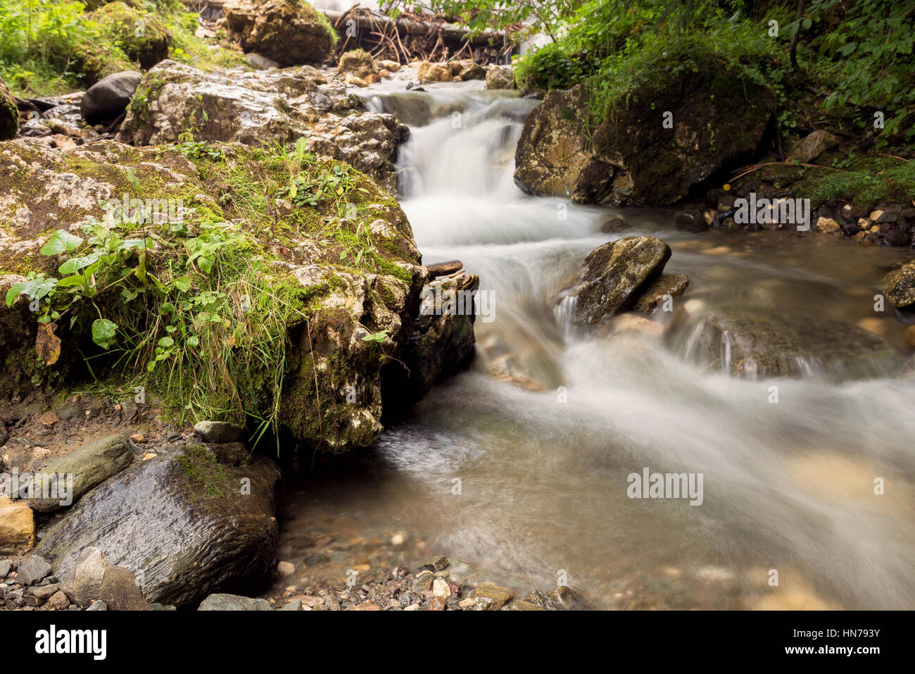 Mountain steam waterfall - Stock Image