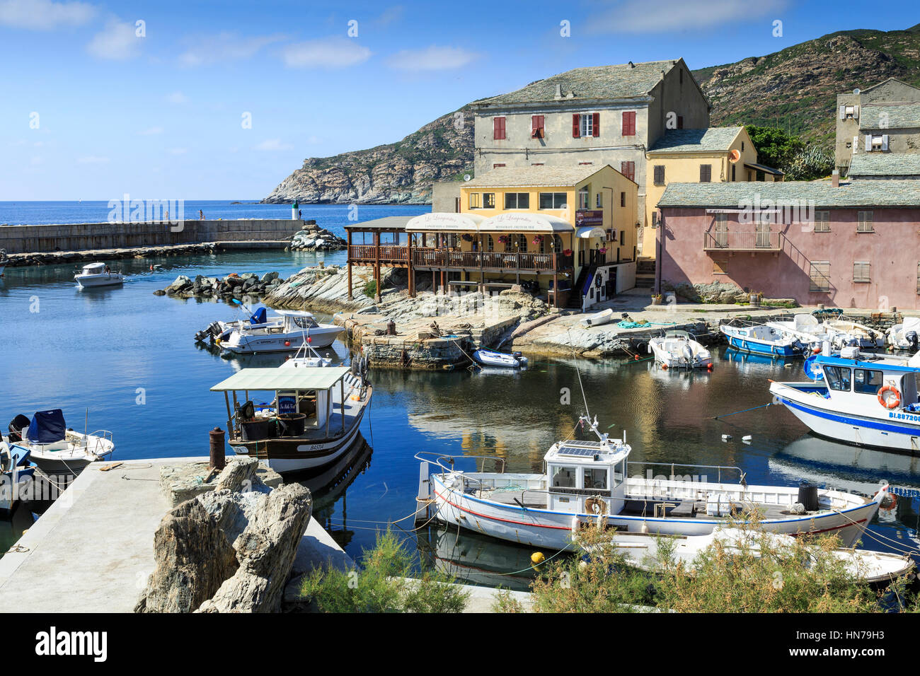 Harbour with fishing boats at Port de Centuri, Cap Corse ,Corsica, France - Stock Image