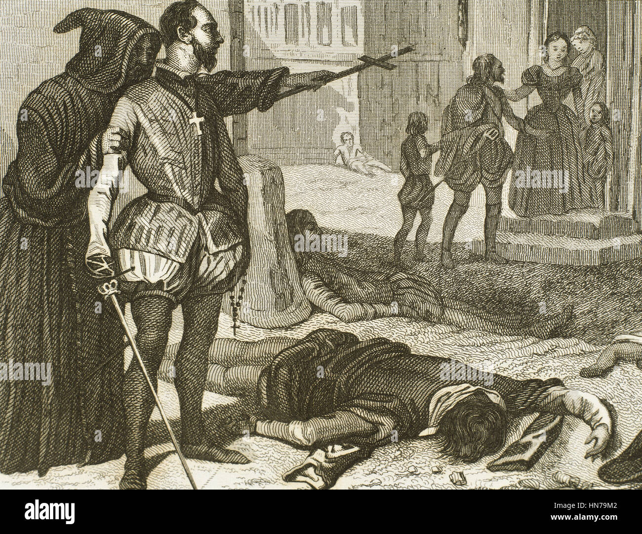 France. French Wars of Religion. St. Batholomew's Day massacre, 1572. Assassinations of Catholic violence against the Huguenots, the French Calvinist Protestants. Engraving. 19th century. Stock Photo