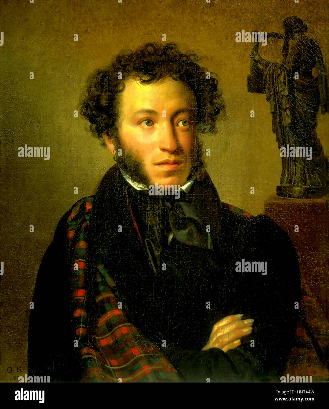 ALEXANDER PUSHKIN (1799-1837) Russian writer and poet in an 1827  painting by Orest Kiprensy - Stock Image