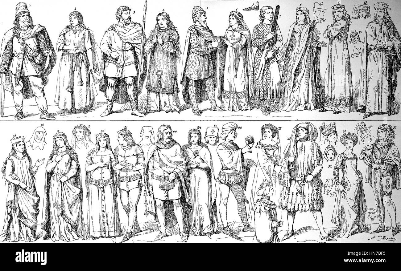 The development of the costume in the Middle Ages, Die Entwicklung der Tracht im Mittelalter, woodcut from 1885, - Stock Image