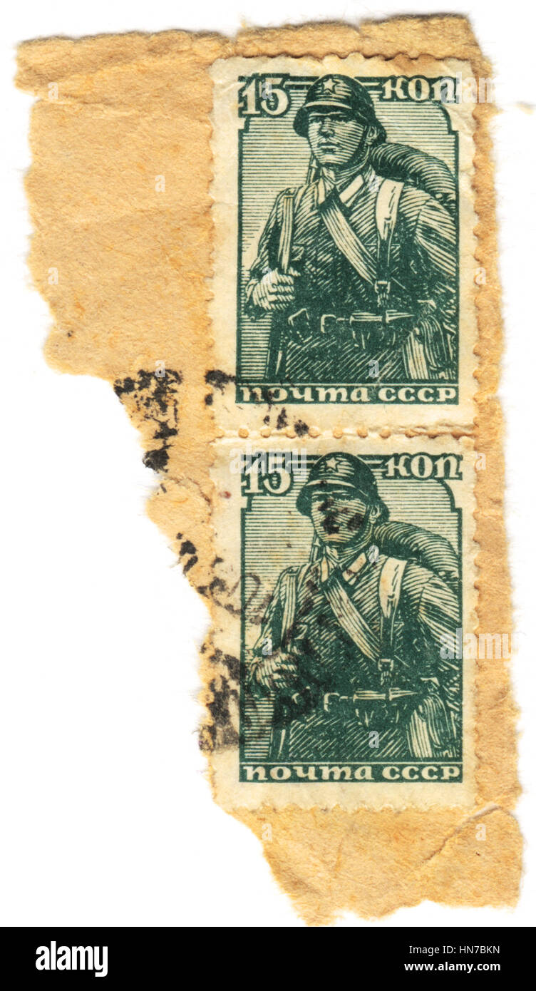 The postage stamp printed in USSR shows  a soldier of World War II, circa 1943 Stock Photo