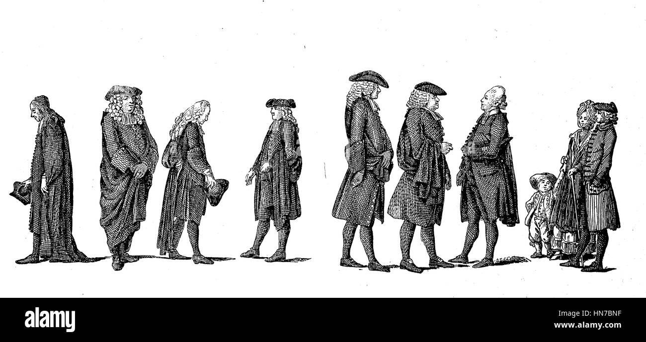 Preacher in Berlin, Germany, in the 18th century, Prediger in Berlin, Deutschland, im 18. Jahrhundert, woodcut from - Stock Image