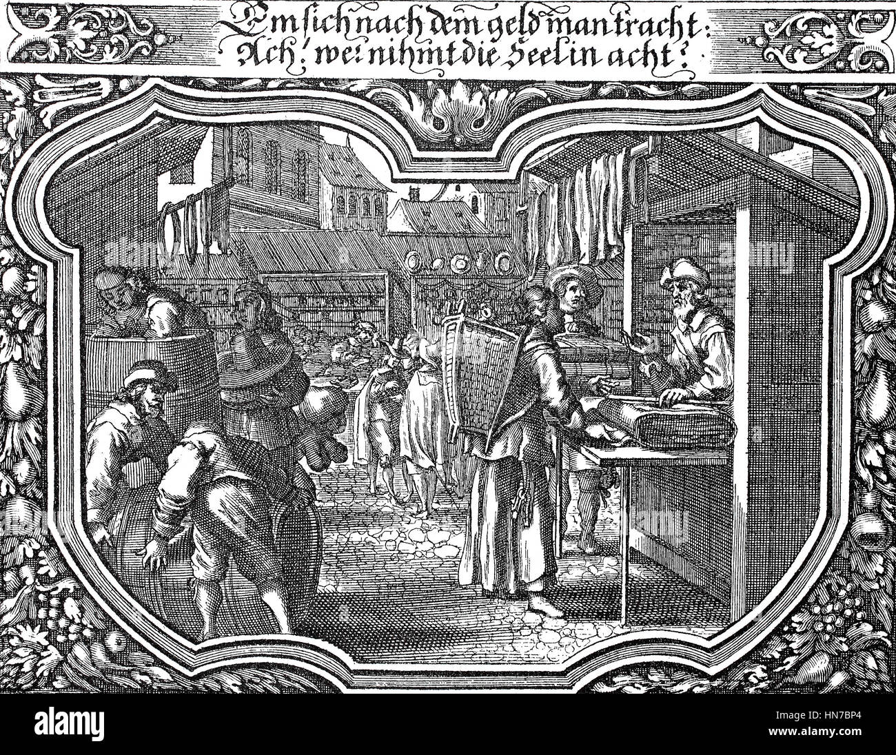 market, Fair in the Middle Ages, ca 1650, Jahrmarkt im Mittelalter, ca 1650, woodcut from 1885, digital improved - Stock Image