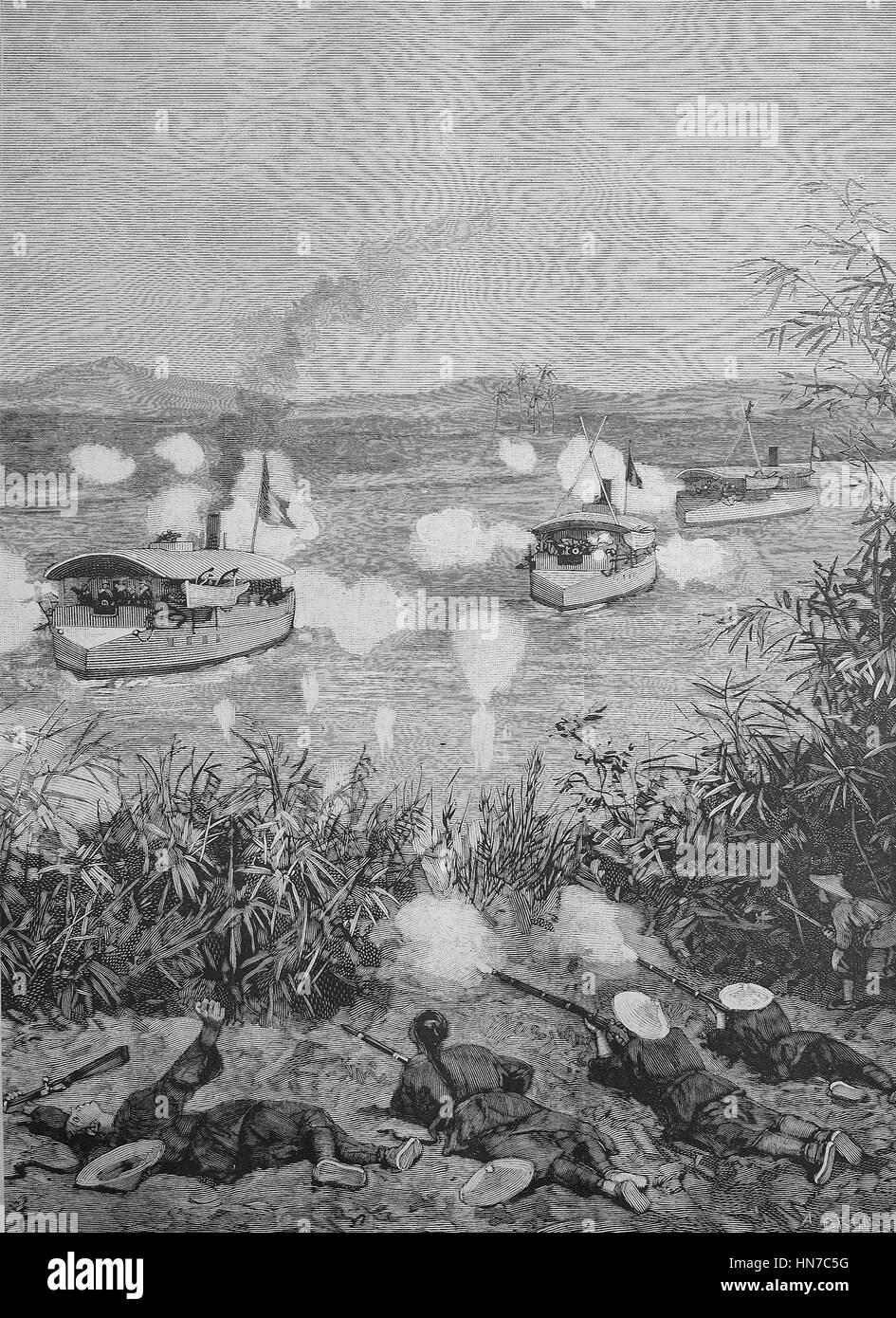 Battle between French cannon boats and Chinese troops in Tonkin, Gefecht zwischen franzoesischen Kanonenbooten und - Stock Image