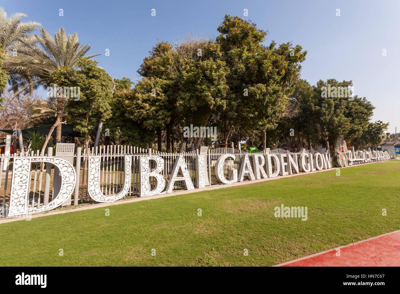 DUBAI, UAE - DEC 6, 2016: The Dubai Garden Glow - theme park for ...