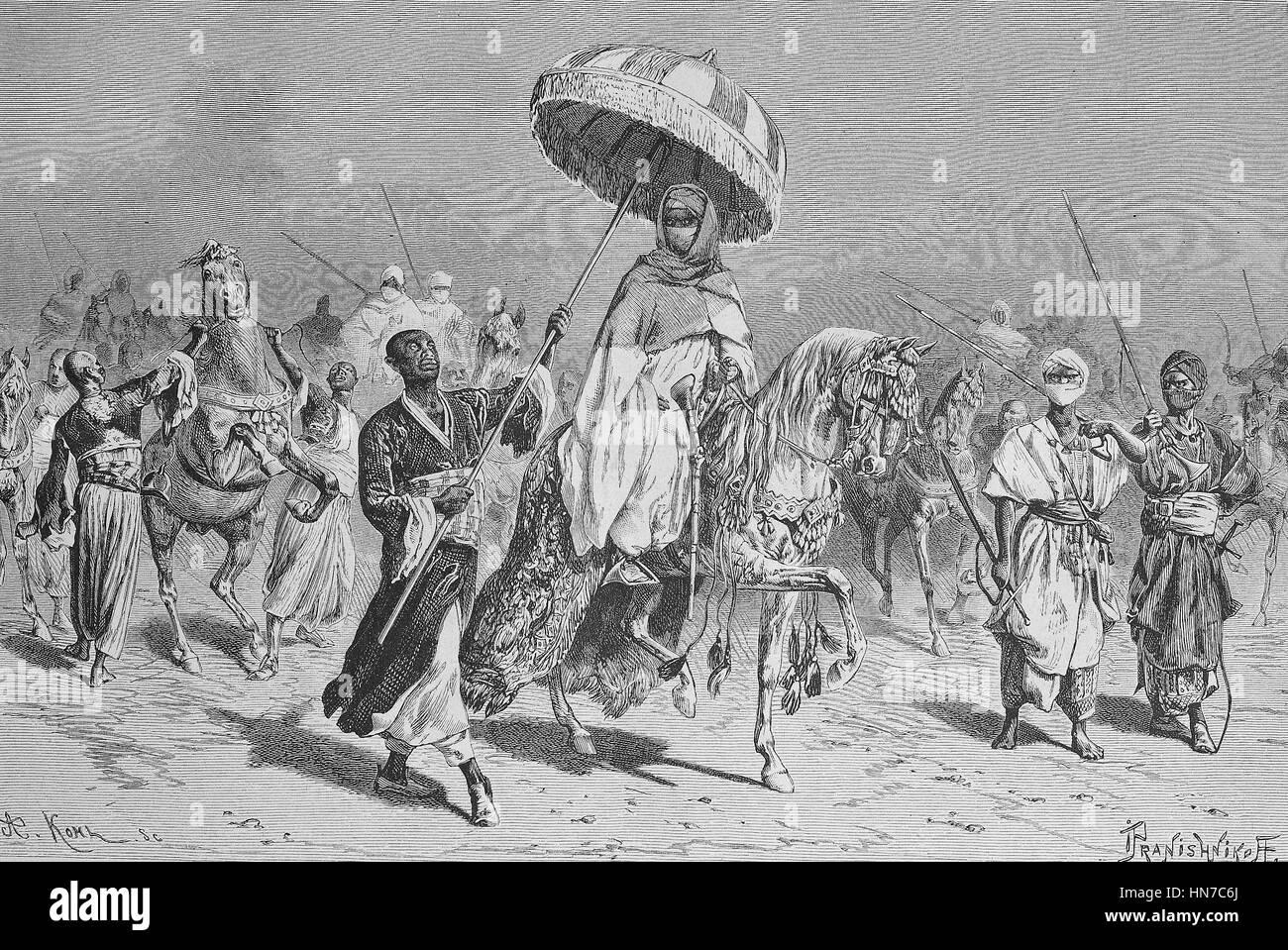 The sheikh of Bornu with entourage, today Nigeria, Der Scheich von Bornu mit Gefolge, today Nigeria, woodcut from - Stock Image