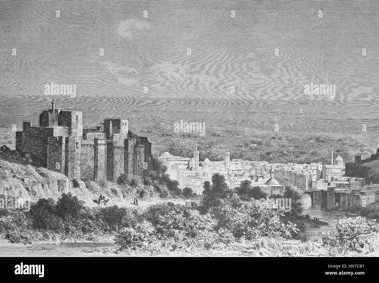 View of Tripoli in Syria, now Lebanon, Ansicht von Tripoli in Syrien, heute Libanon, woodcut from 1885, digital - Stock Image