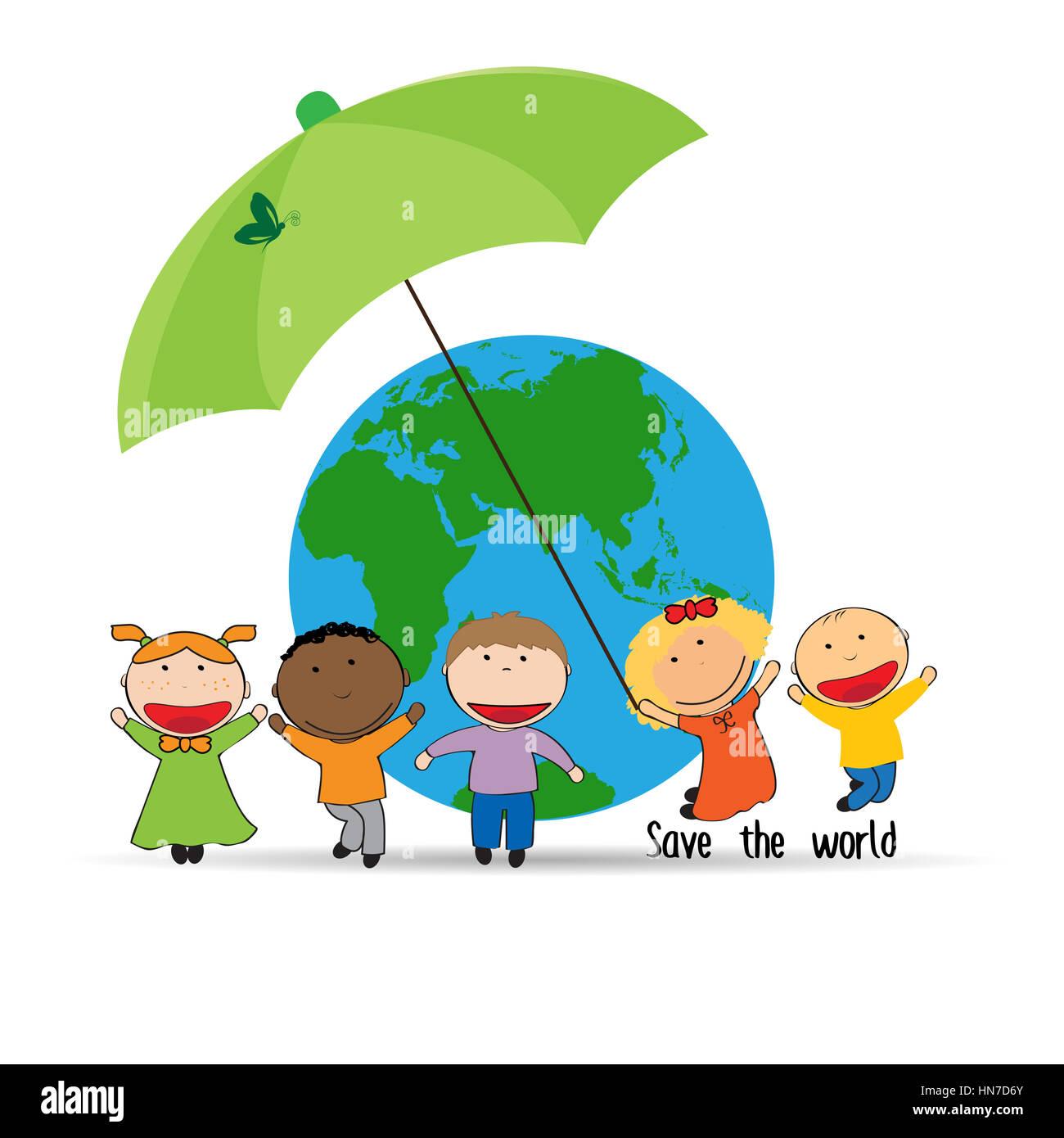 Boy Cartoon Save Earth Icon Stock Photos Boy Cartoon Save Earth