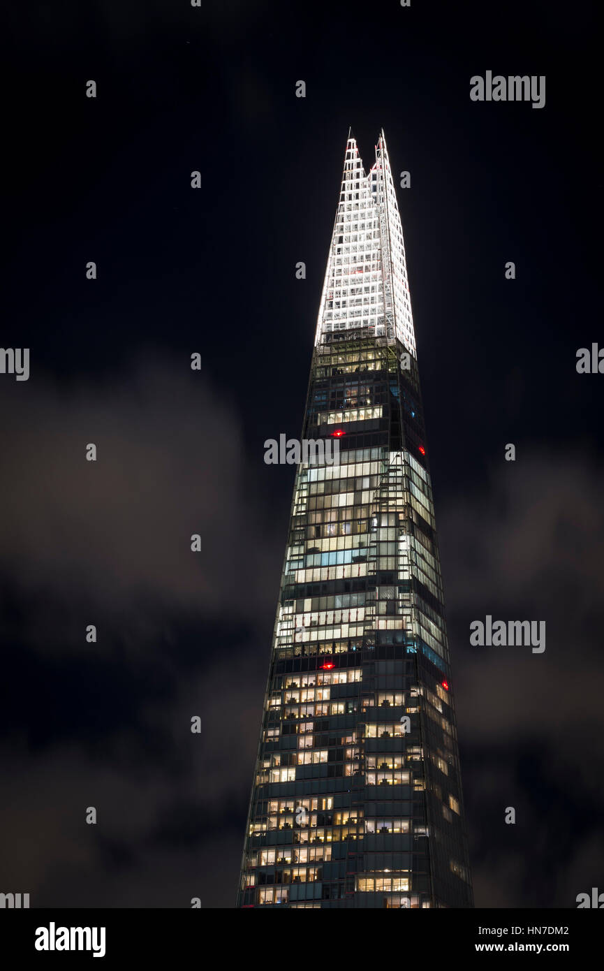 The Shard (Shard of Glass, Shard London Bridge), London, at night. - Stock Image