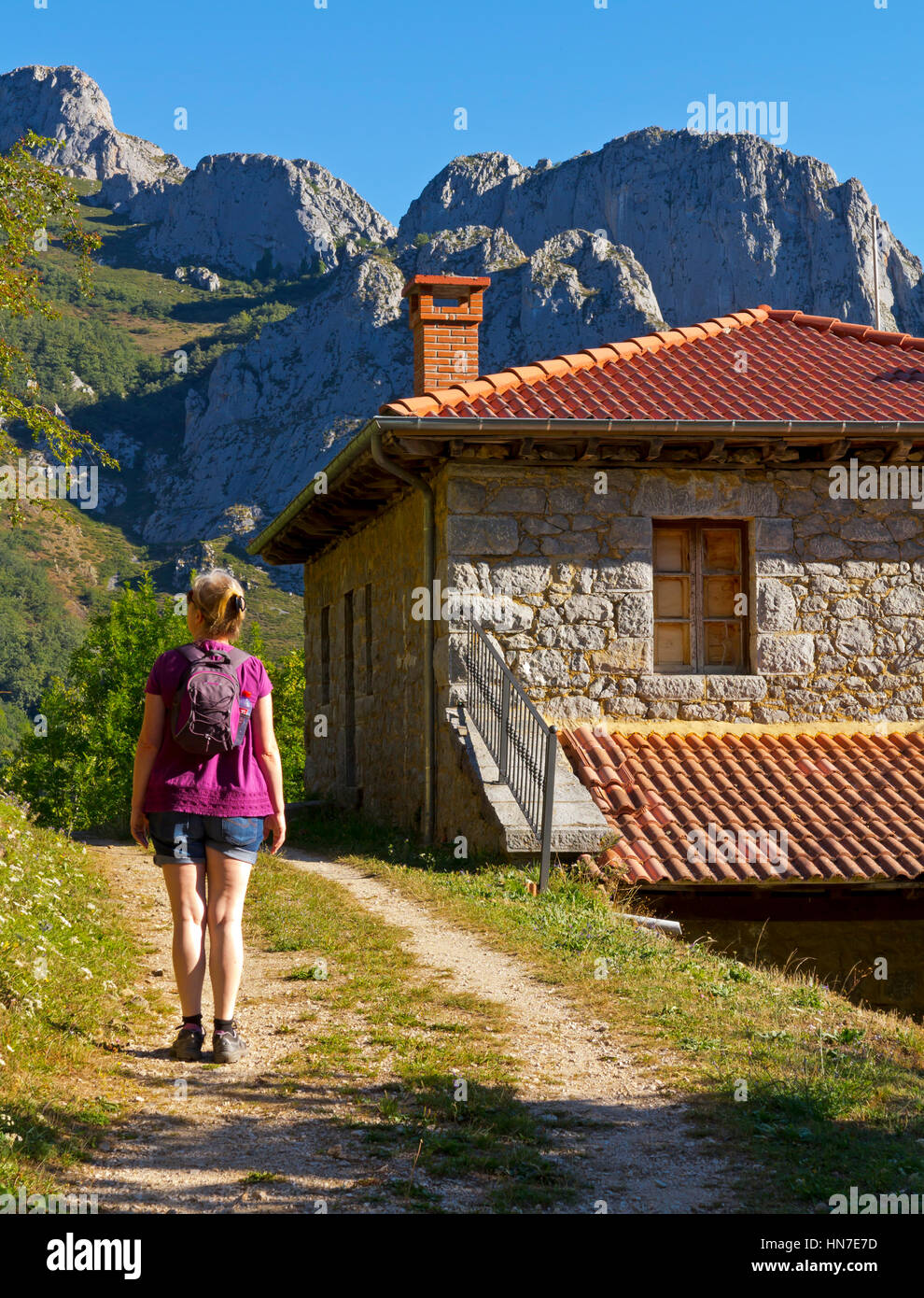 Woman hiking near Cucayo a mountain village in the Picos de Europa National Park in Cantabria northern Spain - Stock Image