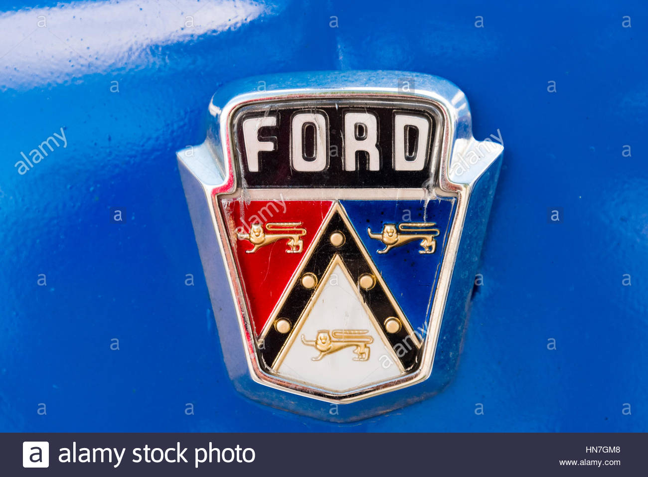 Ford Brand Name Logo In Old Classic American Car Still Running In