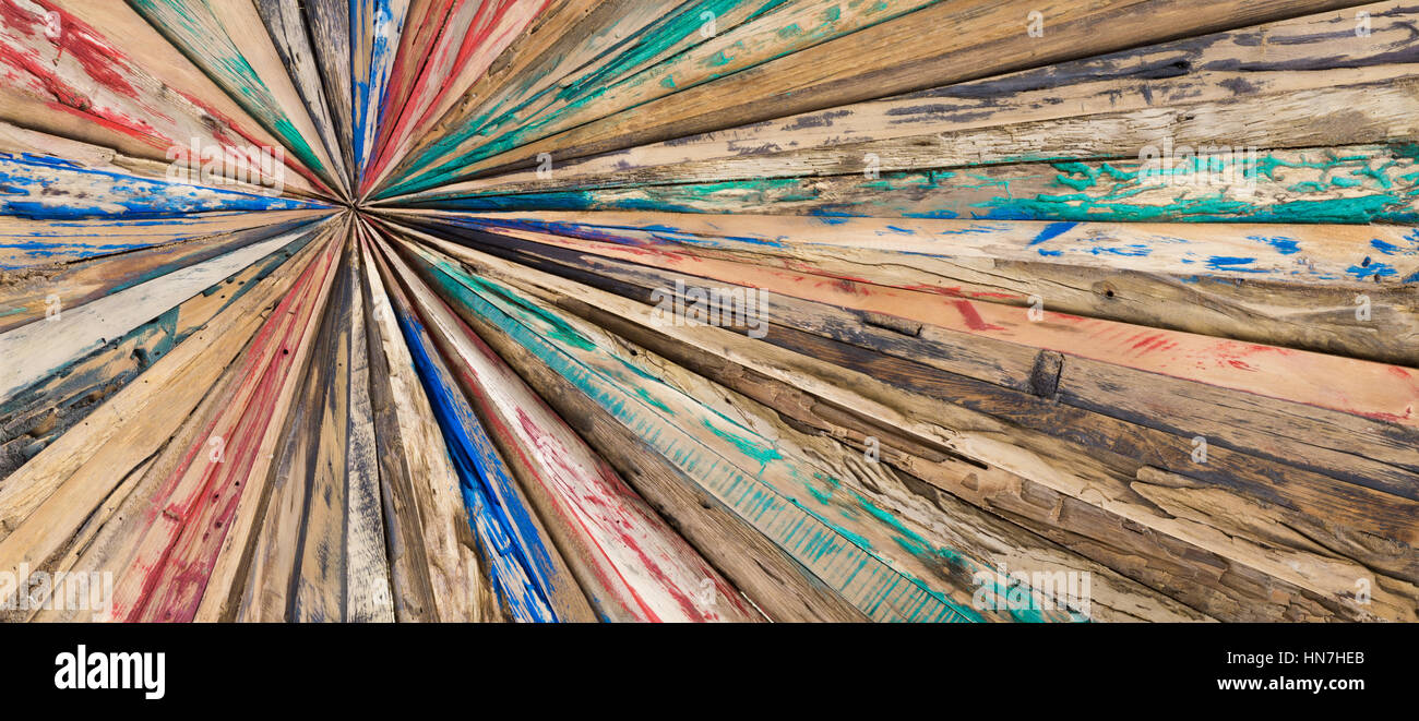 Starlike wood planks. Painted and grinded texture background. - Stock Image
