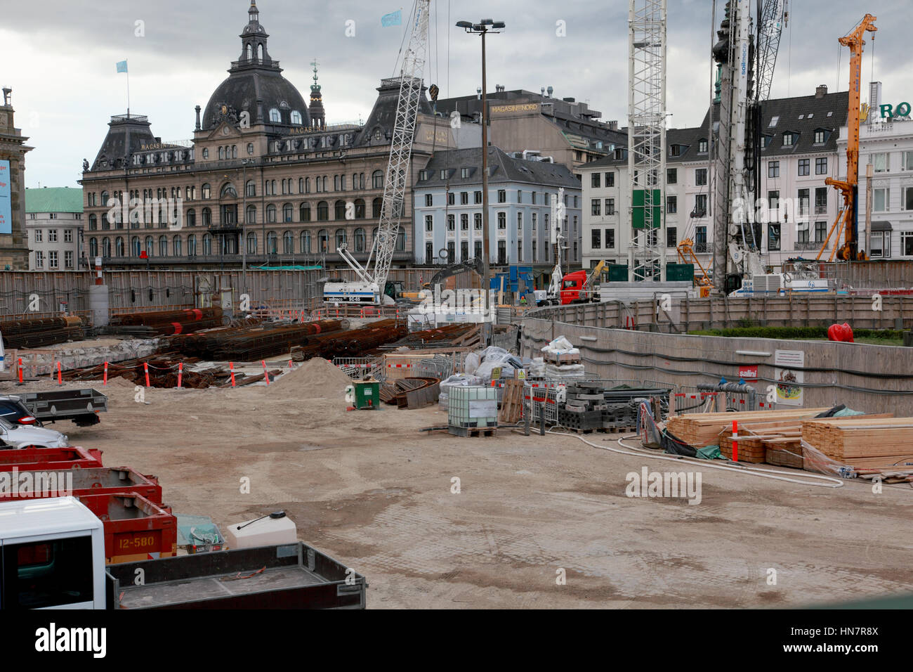 Work being carried on construction of the new City Circle Line metro in Copenhagen, Denmark - Stock Image