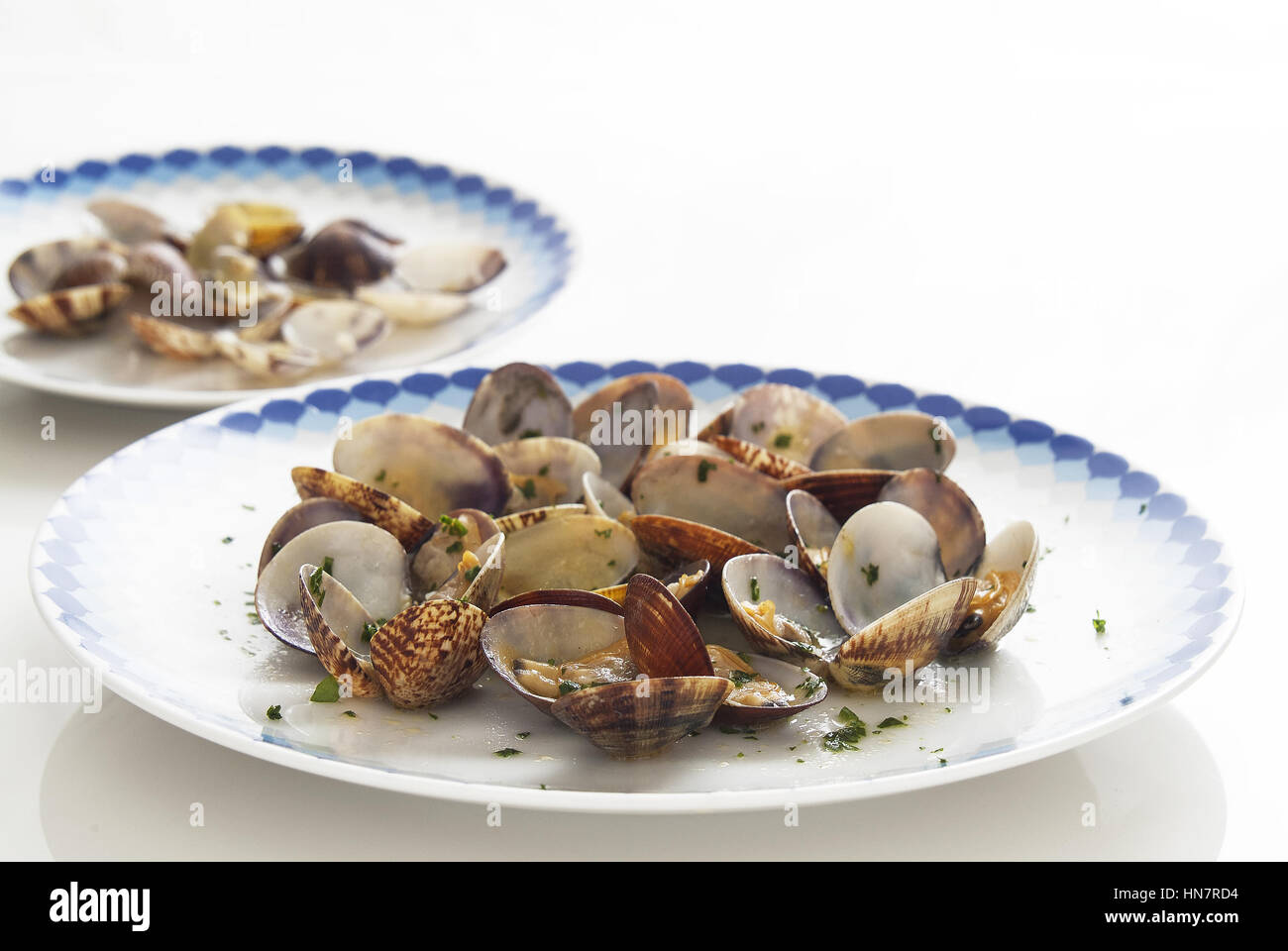 clams with long pasta - Stock Image