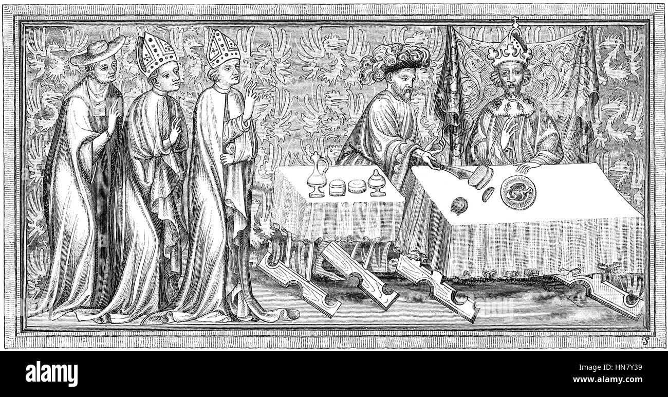 Coronation dinner of Charles IV, born Wenceslaus, 1316-1378, King of Bohemia, Holy Roman Emperor Stock Photo