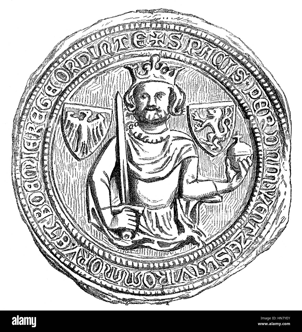 Seal of Wenceslaus, Wenceslas, Wenzel, nicknamed the Idle, 1361-1419, German King, King of Bohemia as Wenceslaus - Stock Image