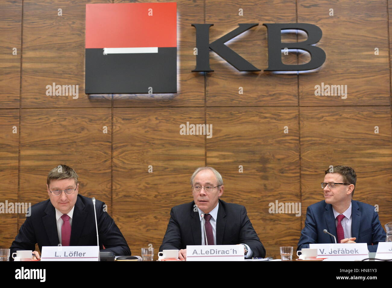 Czech bank Komercni banka (KB), owned by France's Societe Generale, raised its net profit by 7.2 percent to - Stock Image