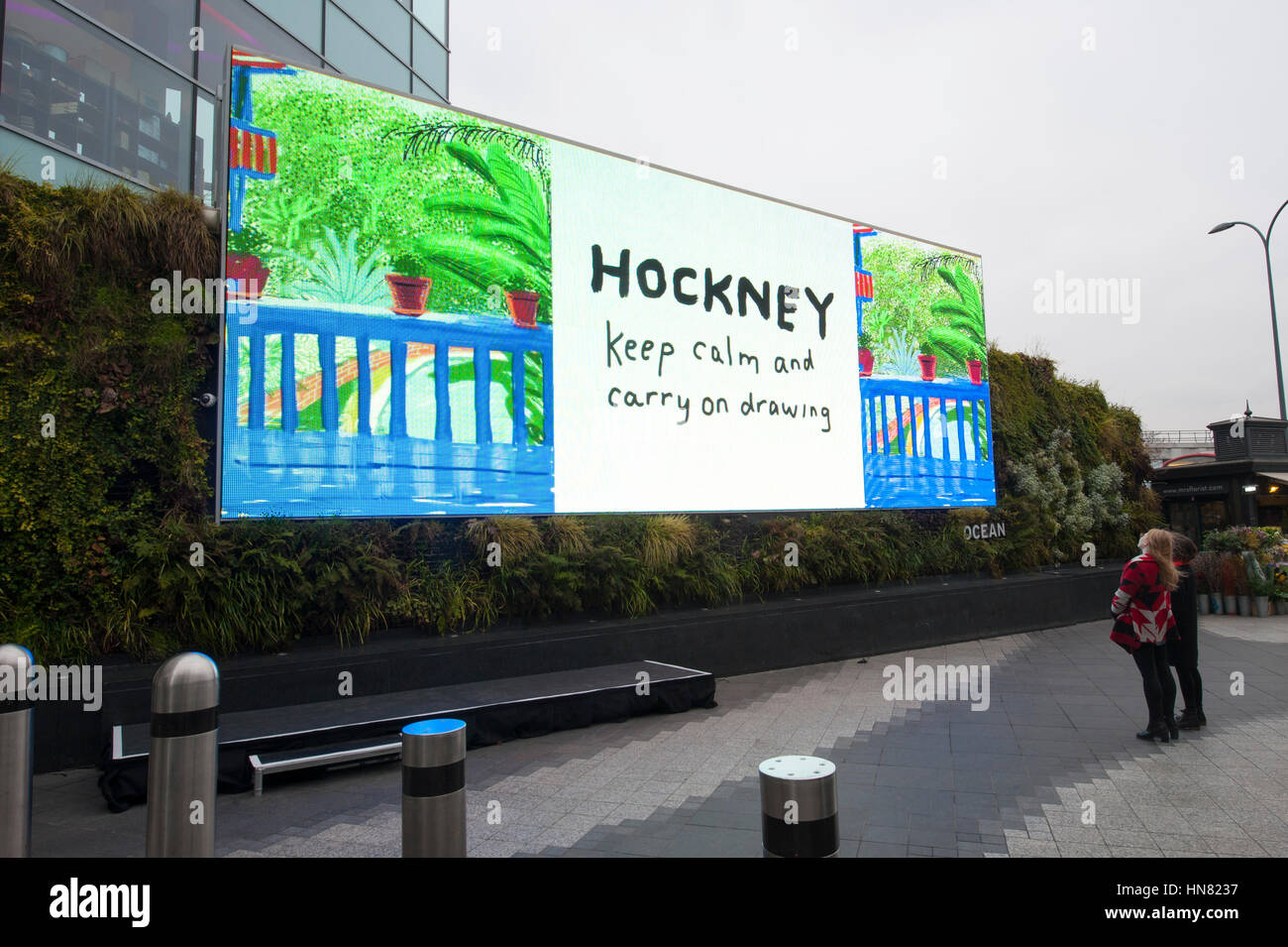 London, UK. 9th Feb, 2017. An iPad painting by the artist, David Hockney is unveiled for public display on an advertising Stock Photo