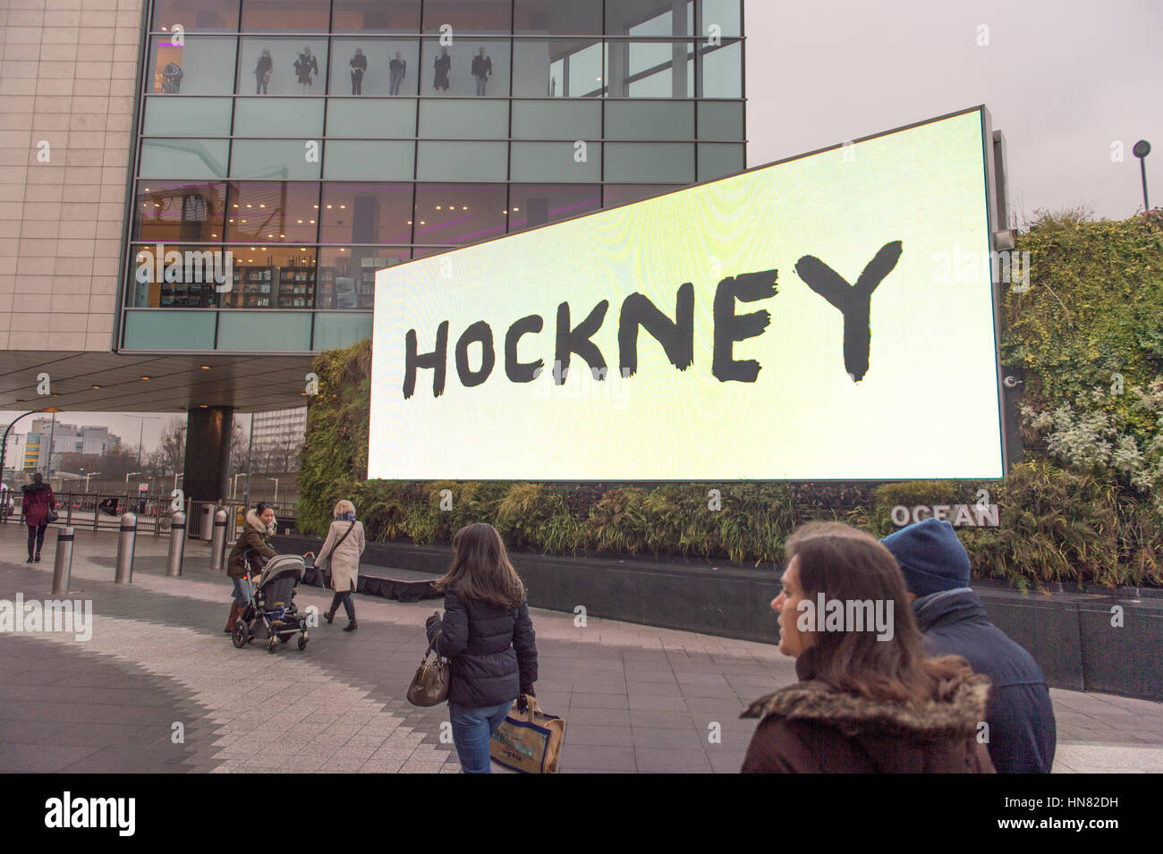 Westfield, London, UK. 9th Feb, 2017. On the day Tate Britain's David Hockney exhibition opens to the public, Tate Stock Photo