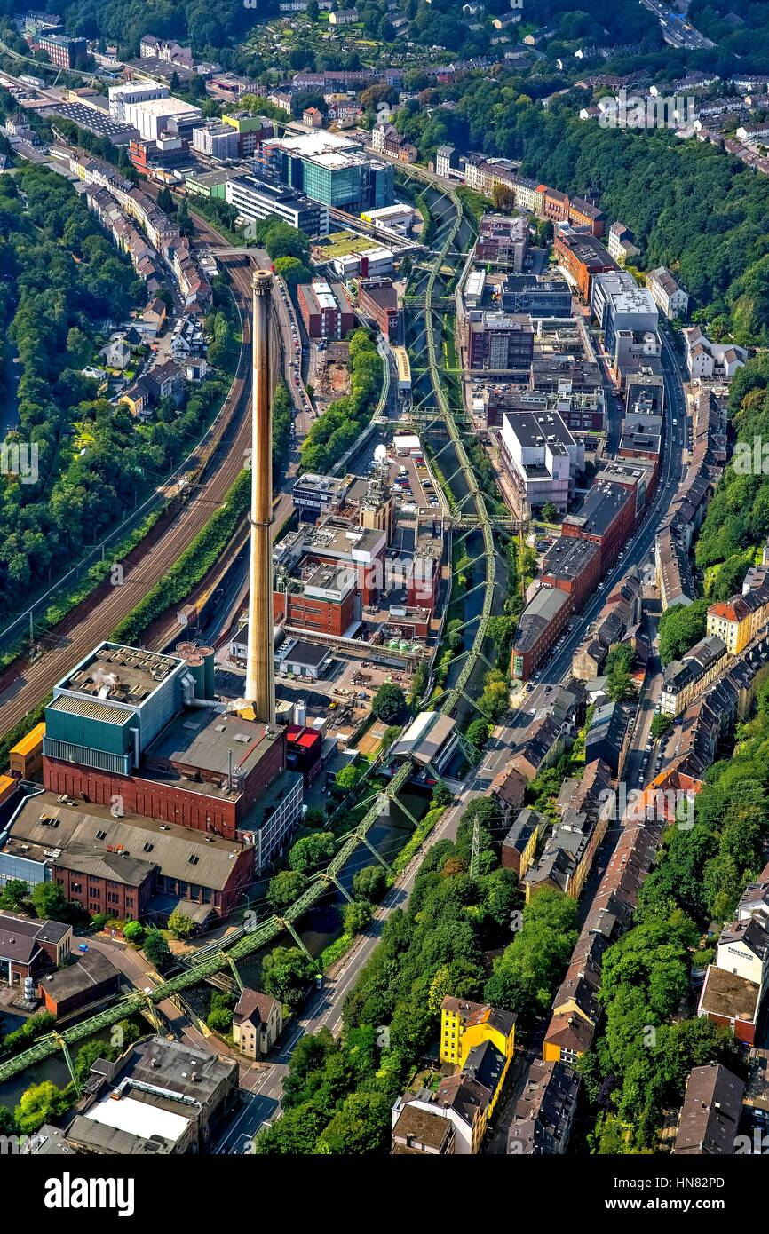 Wuppertal, Germany. 03rd Sep, 2015. Aerial view of buildings and production halls on the premises of the chemical - Stock Image