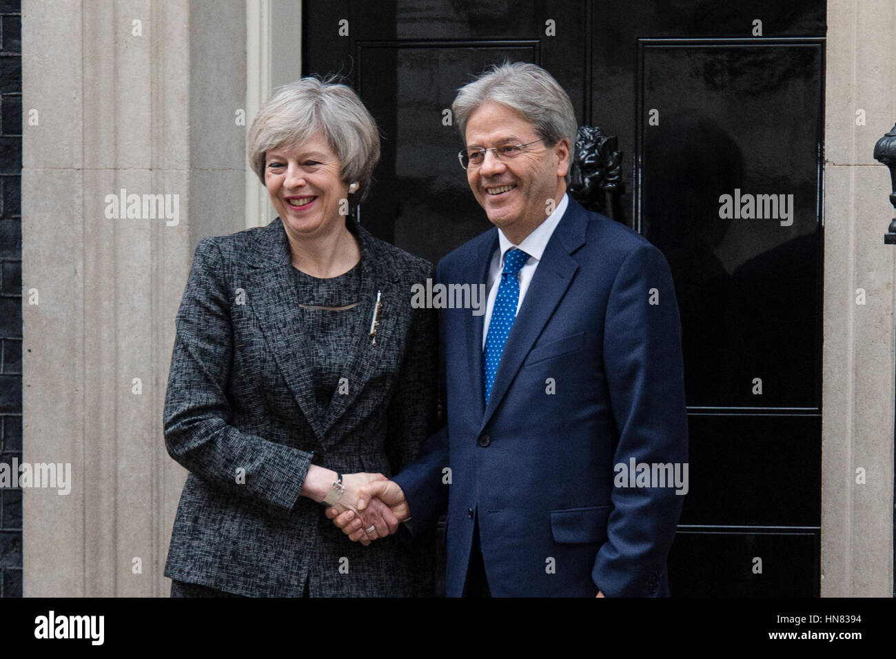 London, UK. 9th February 2017. Prime Minister Theresa May welcomes Prime Minister Paolo Gentiloni of Italy to Downing Stock Photo