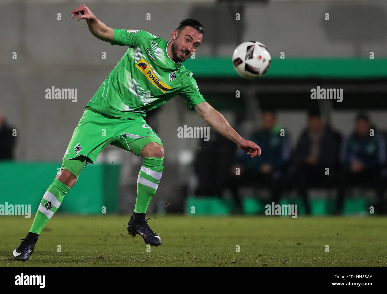 Gladbach's Josip Drmic in action during the German DFBCup round of 16 soccer match between SpVgg Greuther Fuerth Stock Photo