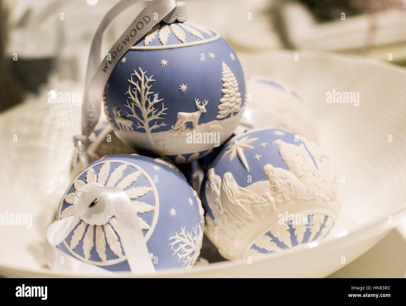 christmas ornaments in blue and white can be seen at the wedgewood company stand at the preview of the ambiente trade fair in frankfurt am main germany - Royals Christmas Ornament