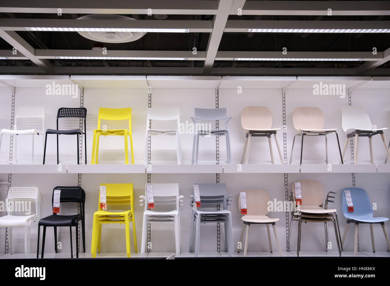 Burbank, CA, USA. 1st Feb, 2017. Various Chairs Stand On Shelves During A  Preview Of The New IKEA Burbank Home Furnishings Store On Wednesday,  February 1, ...