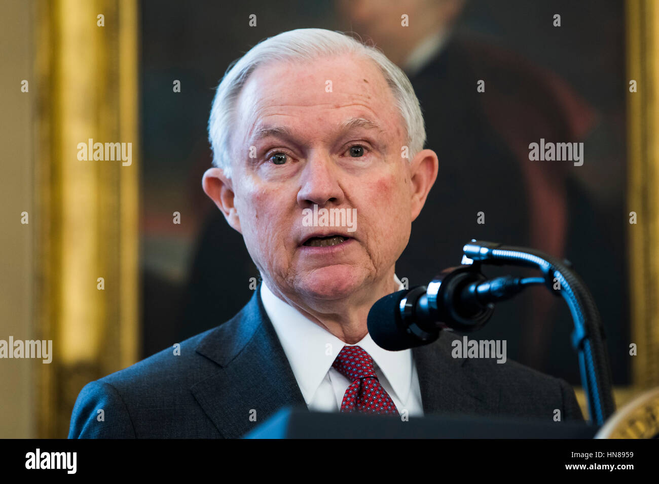 Attorney General Jeff Sessions speaks after Vice President Mike Pence swore Sessions in as the next attorney general Stock Photo
