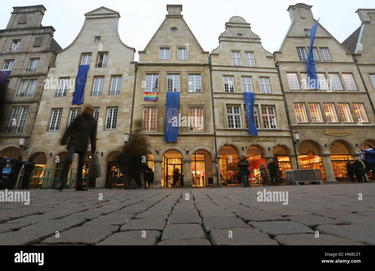 European Union flags hang from the historic city hall in Münster, Germany, 10 February 2017. The rightwing - Stock Image