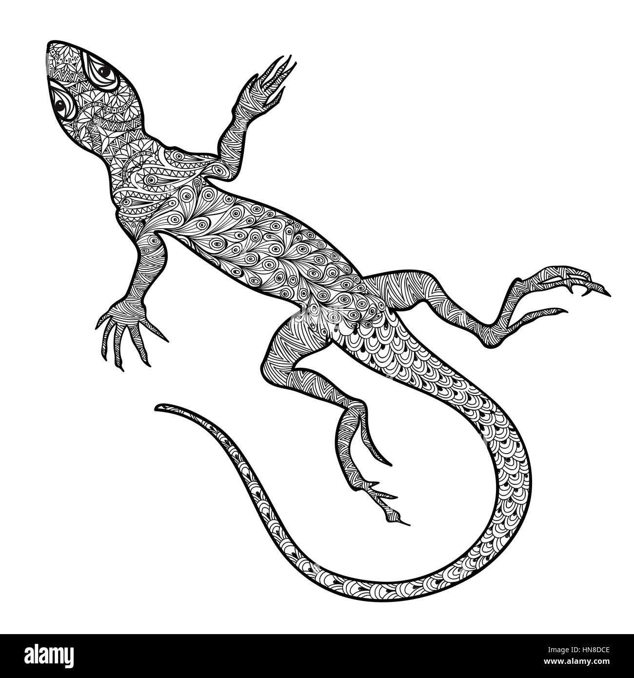 Lizard Isolated Hand Drawn Vector Salamander With Ethnic Tribal Ornamental Zentagle Pattern Sketch Of