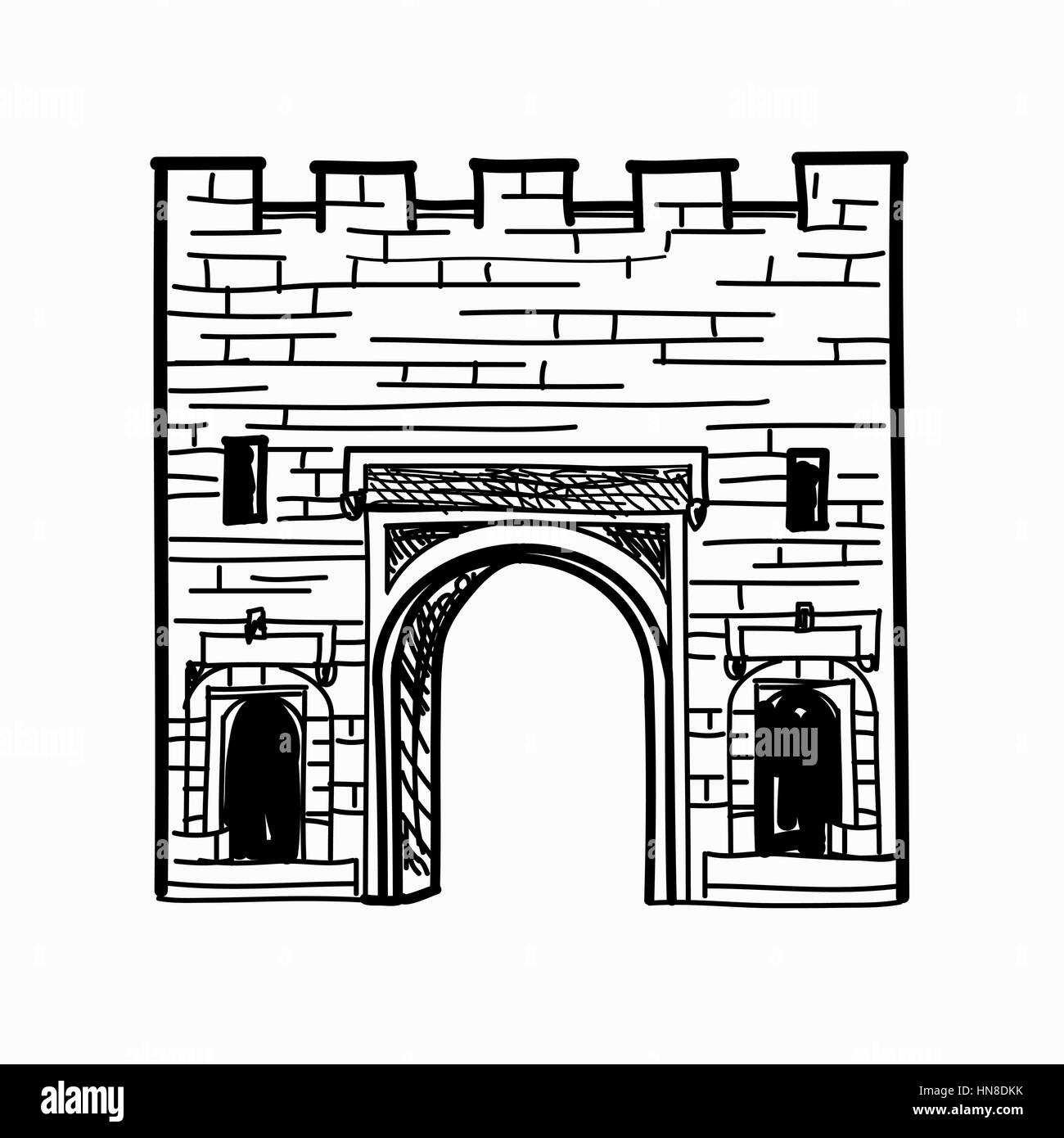 Arch gates in fortress wall Doorway to town castle Architectural draft - Stock Vector