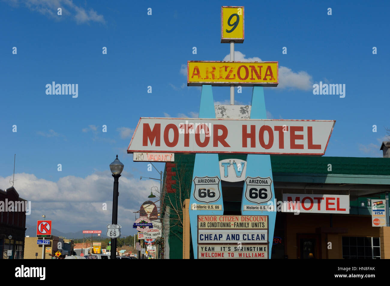 Route 66 hotel. Williams. Arizona. USA - Stock Image