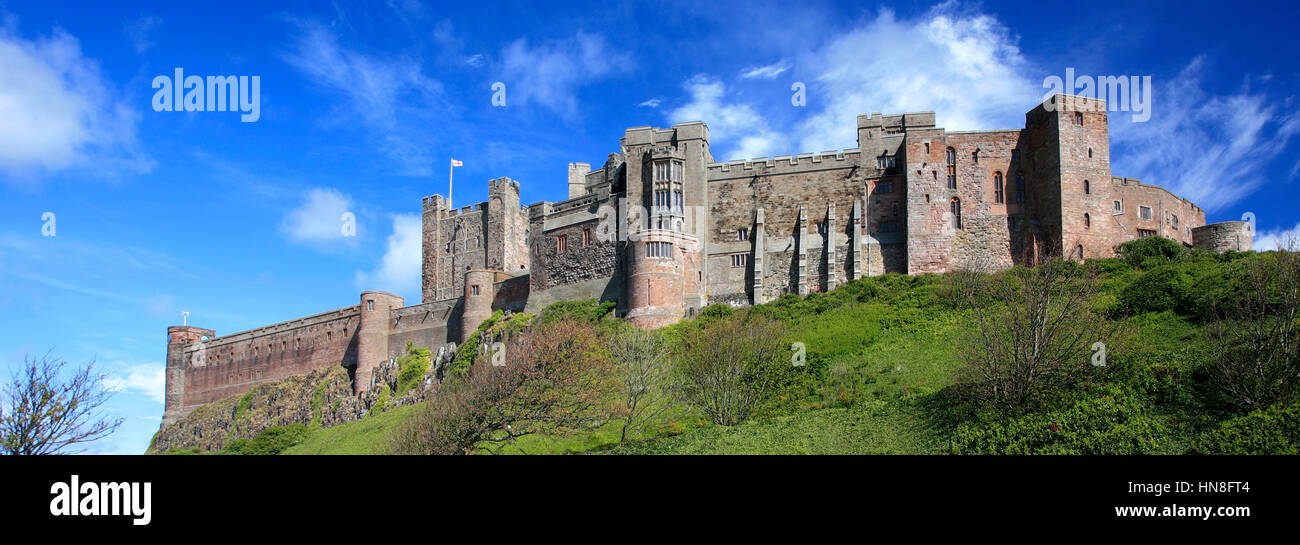 Summer, Bamburgh Castle, Bamburgh village, North Northumbrian Coast, Northumbria County, England, UK - Stock Image