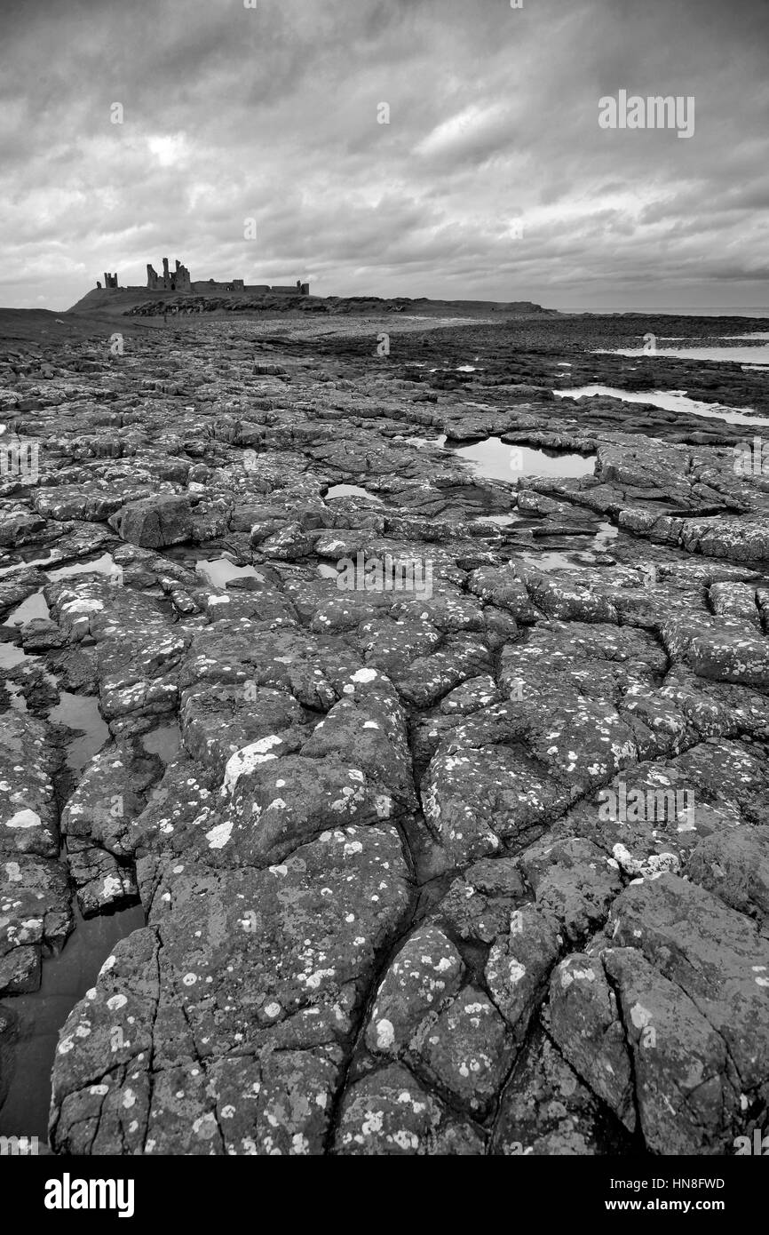 Summer skies, Dunstanburgh Castle, North Northumbrian Coast, Northumbria County, England, UK - Stock Image
